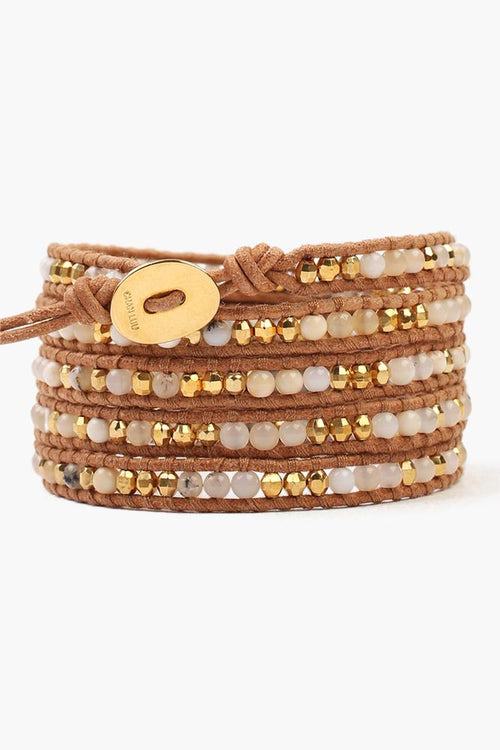 White Opal Five Wrap Bracelet on Beige Leather