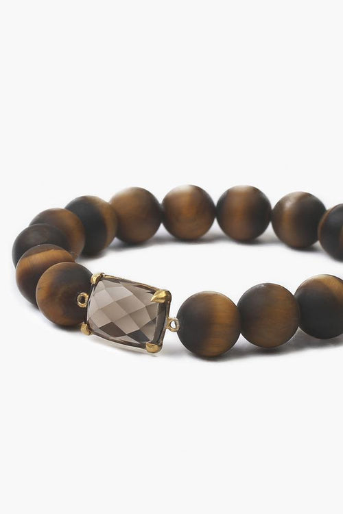 Matte Tiger's Eye Mix Stretch Bracelet