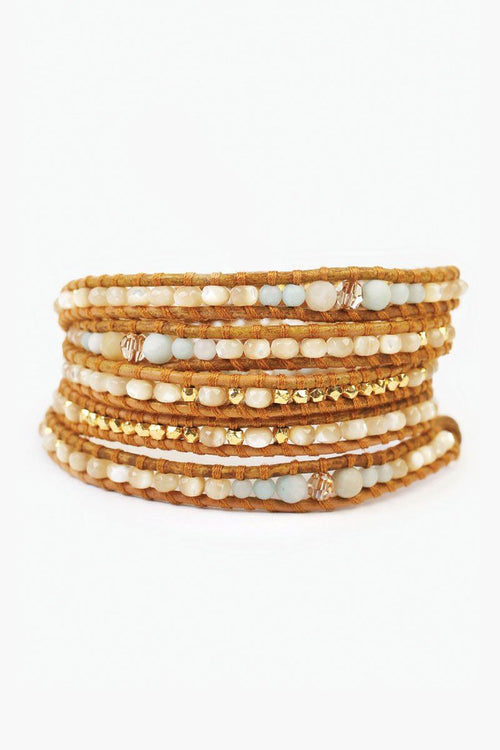 Matte Multi-Amazonite Mix Five Wrap Bracelet