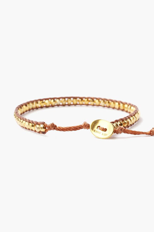 Yellow Gold Single Wrap Bracelet On Copper Cord