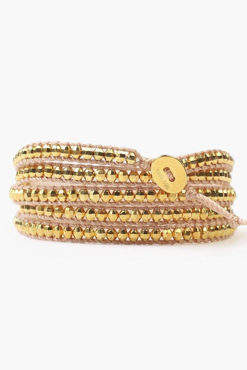 Yellow Gold Five Wrap Bracelet on Copper Cord