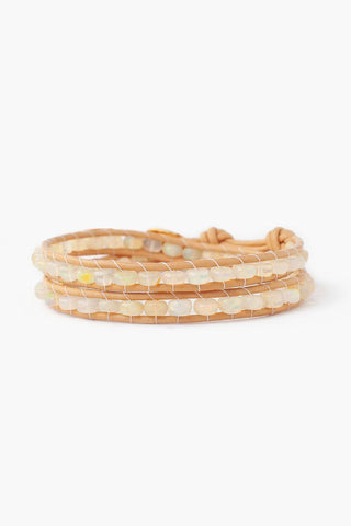 Yellow Gold Kansa Citrine Moon Pendant Single Wrap Bracelet