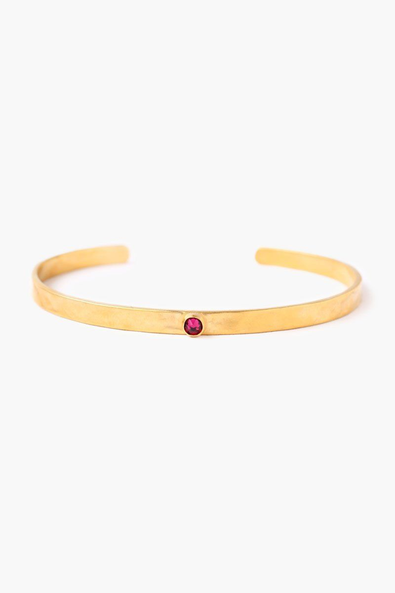 July Ruby Birthstone Cuff