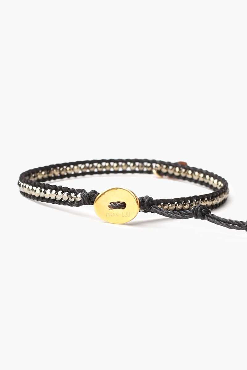 Pyrite Horn Charm Single Wrap Bracelet