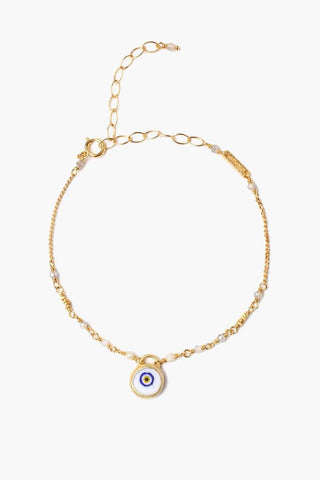 White Mix Evil Eye Charm Bracelet
