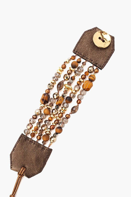 Tiger's Eye Mix Multi Strand Wrap Bracelet