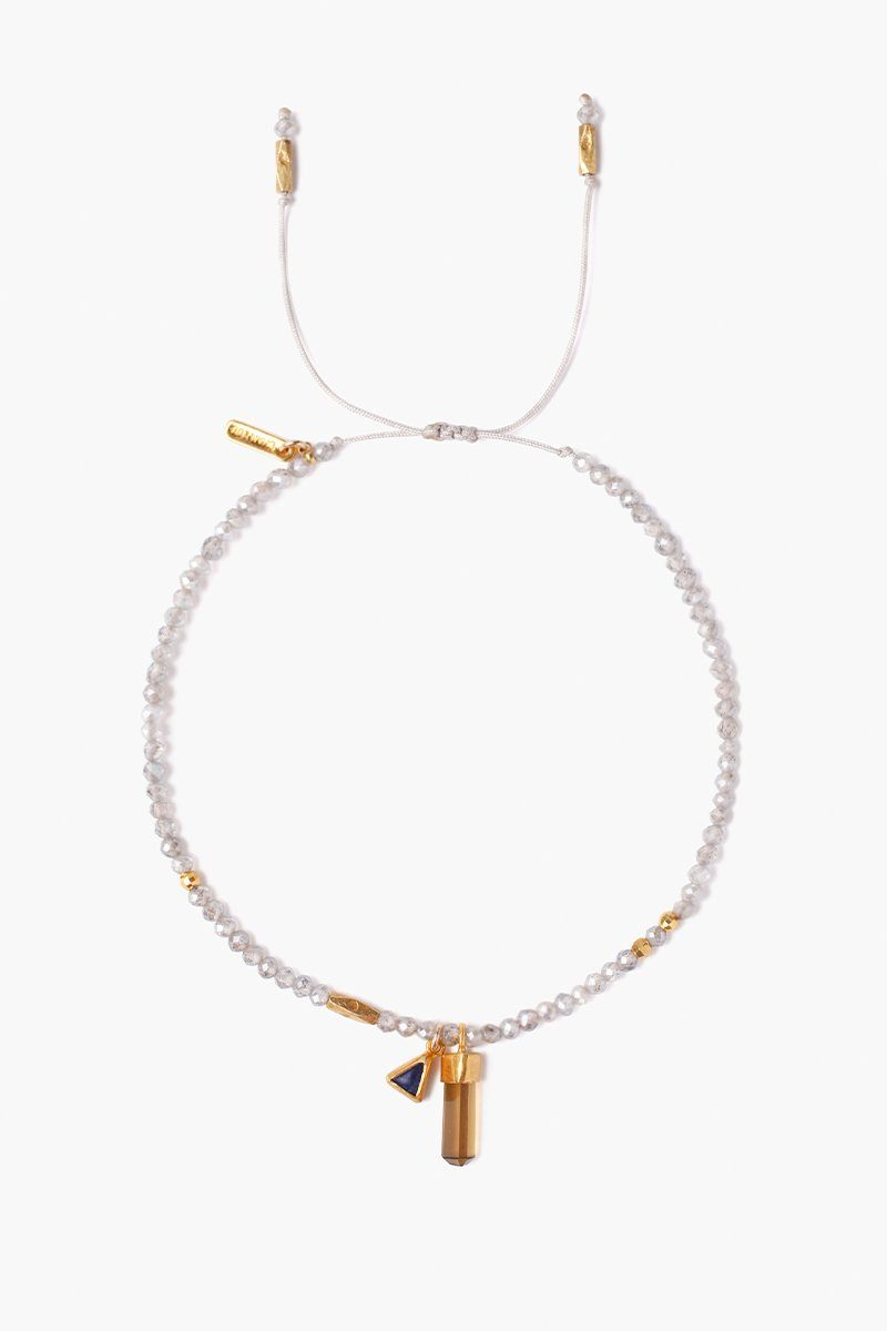 Whiskey Quartz Mix Baguette Pull-Tie Bracelet