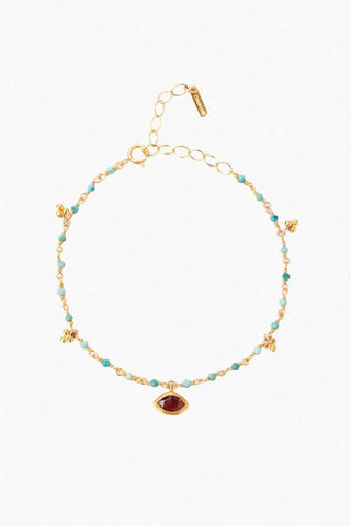 Citrine Evil Eye and Sliced Diamond Charm Necklace