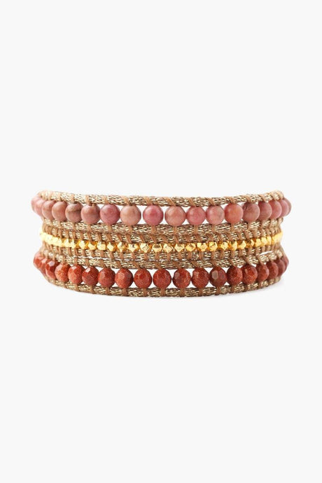 Rhondite Mix Three Wrap Bracelet