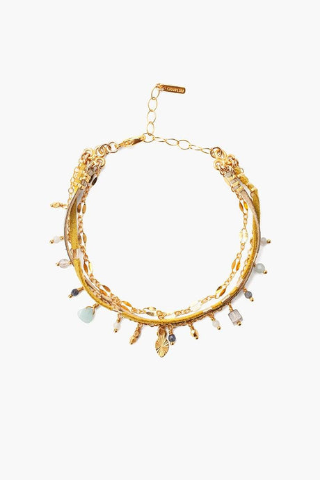 Gold Mix Multi-Strand Charm Bracelet