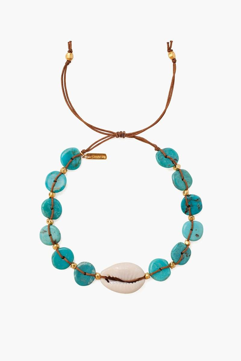 Turquoise Discs and Cowry Shell Pull-Tie Bracelet