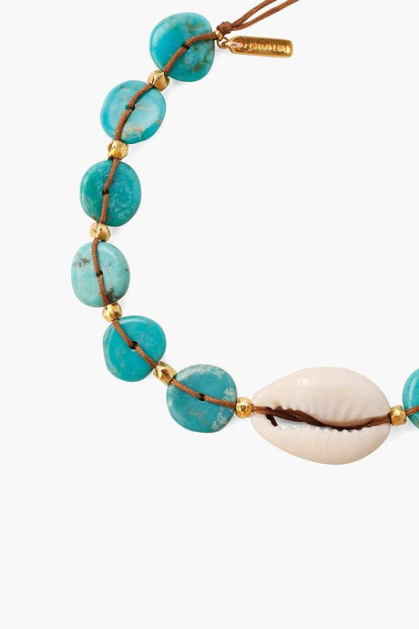 Turquoise Discs and Cowry Shell Pull-Tie Bracelet (pre-order)