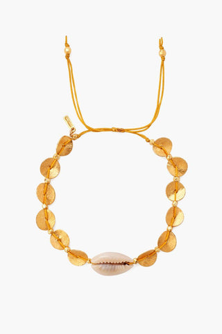Yellow Gold Discs and Cowry Shell Pull-Tie Bracelet
