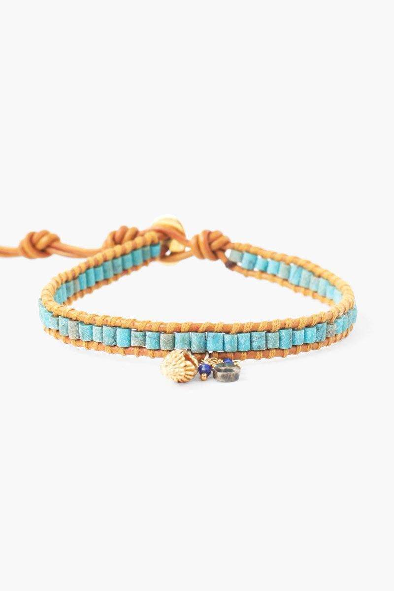 Turquoise Mix and Shell Charm Single Wrap Bracelet