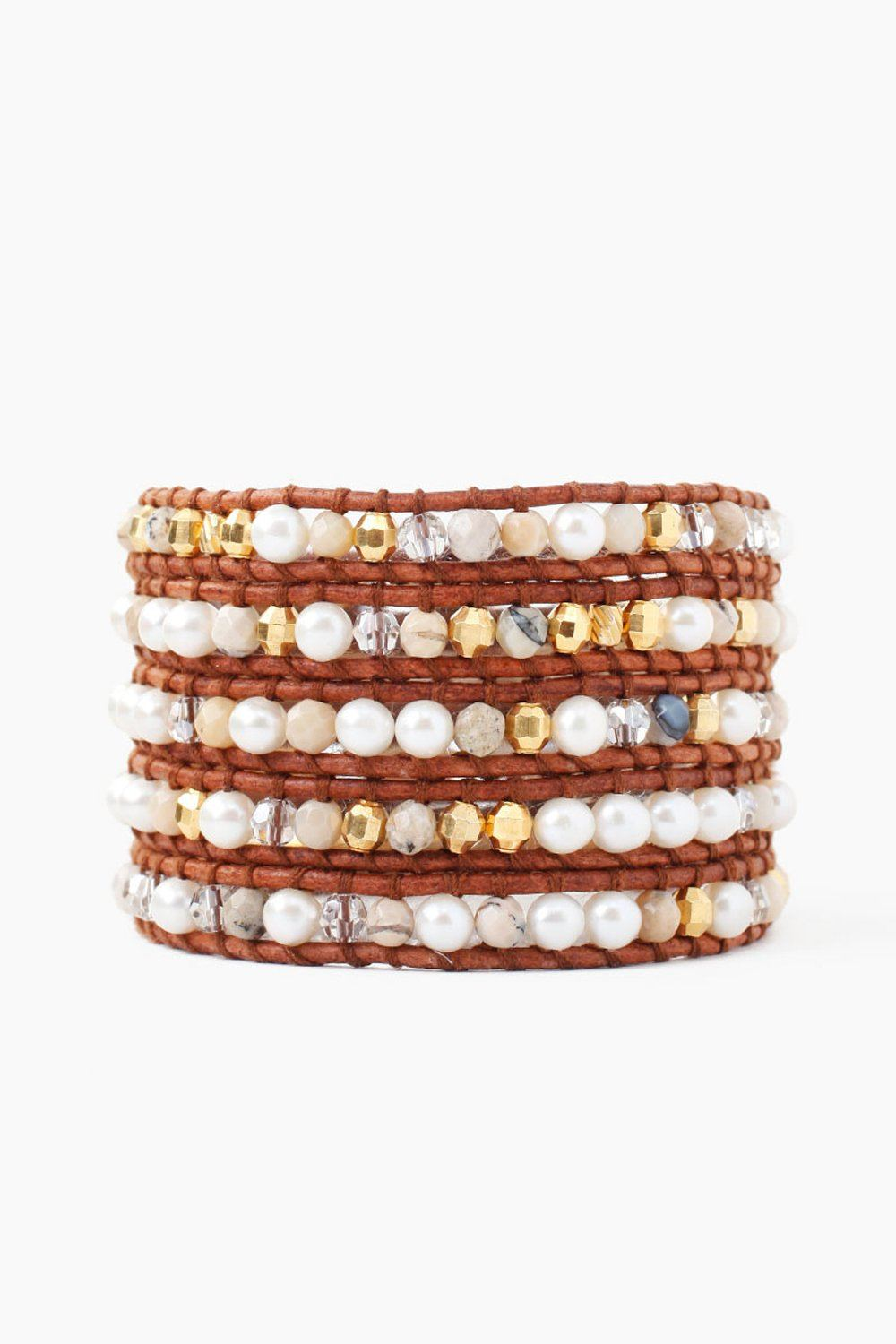 White Pearl Mix Five Wrap Bracelet