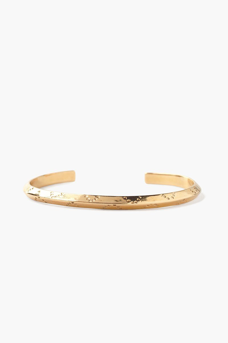 Yellow Gold Dot Engraved Cuff