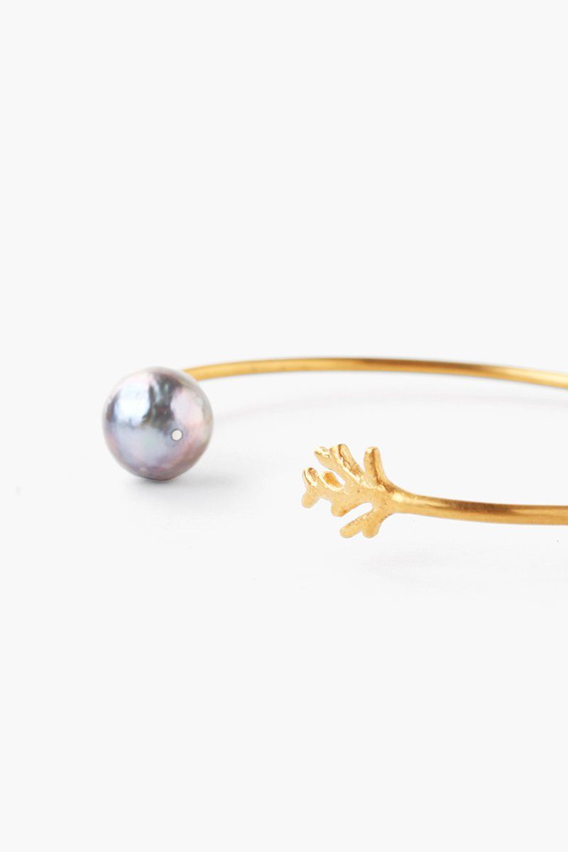 Grey Baroque Pearl and Coral Cuff