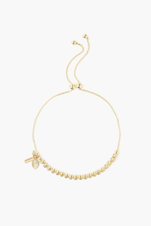 Yellow Gold Leaf Charm Pull-Tie Bracelet