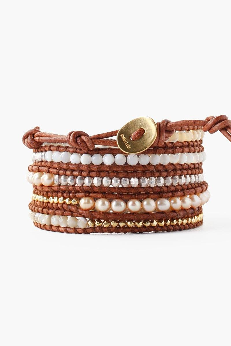 Natural Mix and Champagne Pearl Wrap Bracelet