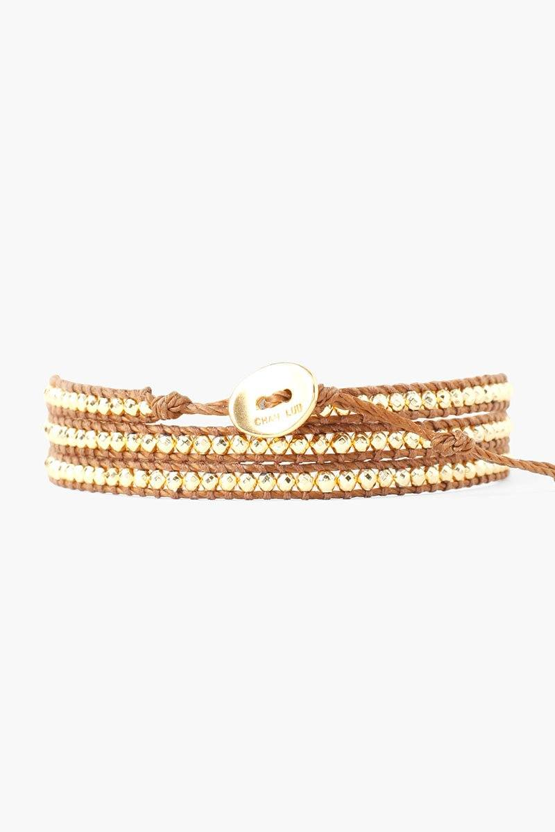 Gold Mix Three Wrap Bracelet
