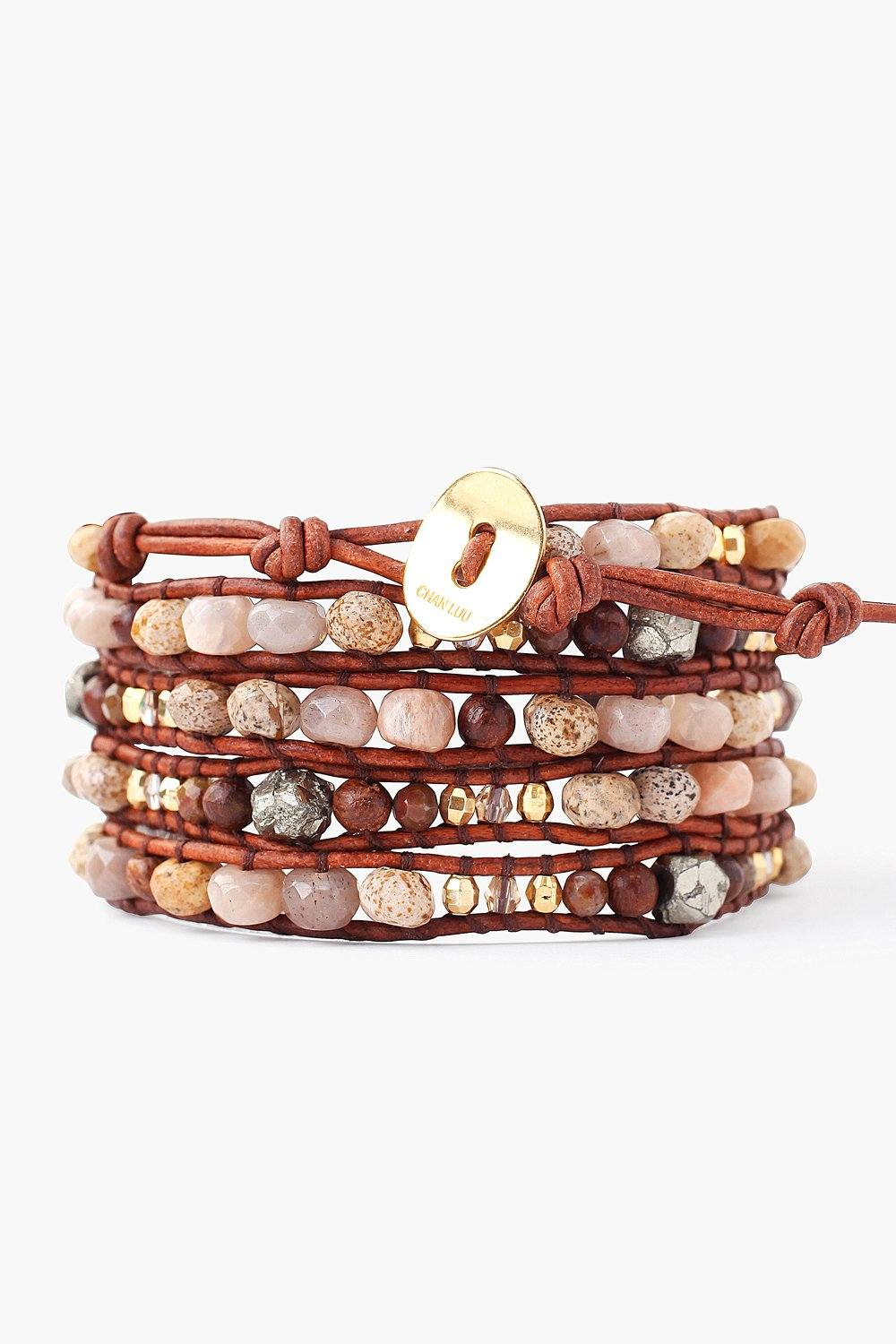 Pyrite Mix and Nuggets Wrap Bracelet on Natural Dark Brown Leather