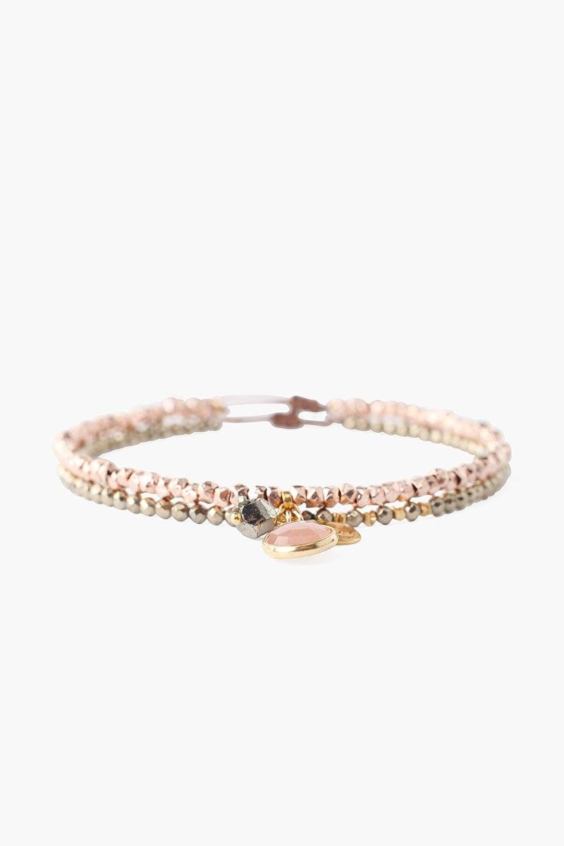 Rose Gold and Pyrite Pull-Tie Bracelet Set