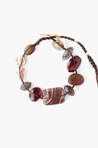 Smokey Quartz Mix Atlantis Bracelet on Rum Raisin Cord