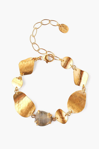 Yellow Gold Beaded and Urcious Shell Pull-Tie Bracelet