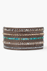 Turquoise and Bronze Shade Mix Wrap Bracelet on Kansa Leather