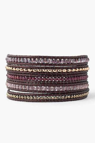 Garnet Mix Wrap Bracelet on Tamba Leather