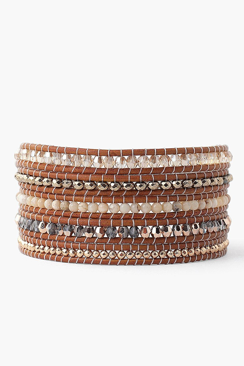 Golden Shadow Mix Wrap Bracelet on Henna Leather