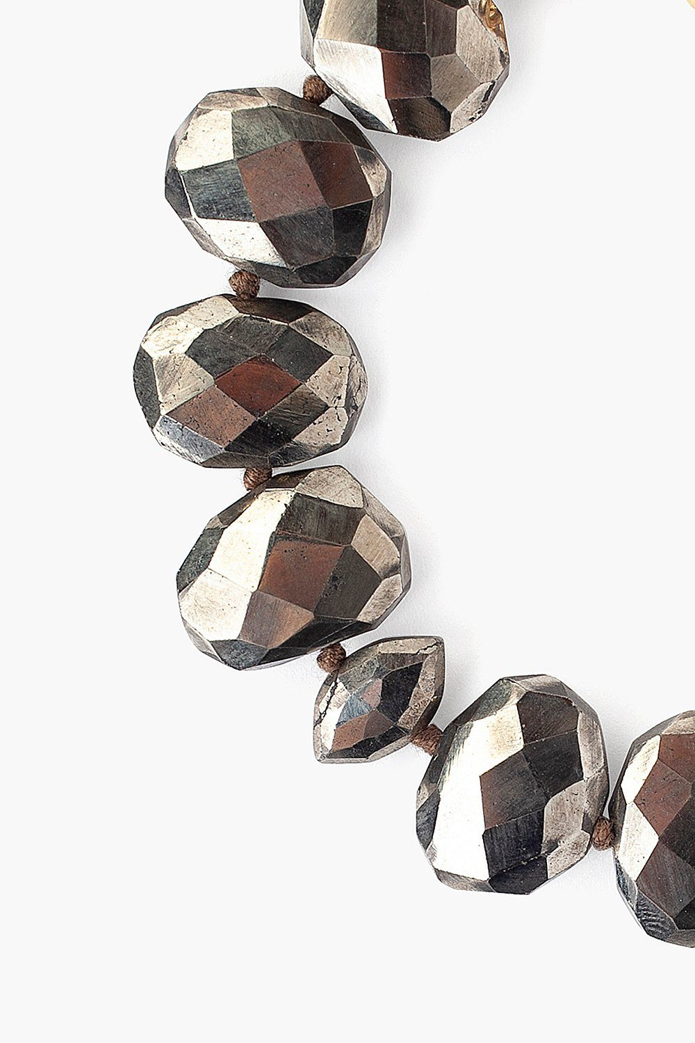Pyrite Faceted Oval Bracelet