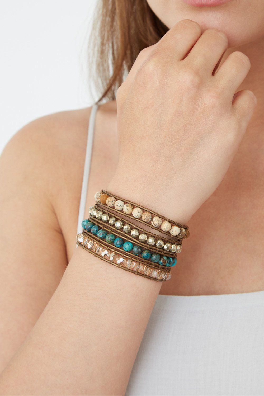 Compressed Turquoise Mix Multi-Strand Bracelet