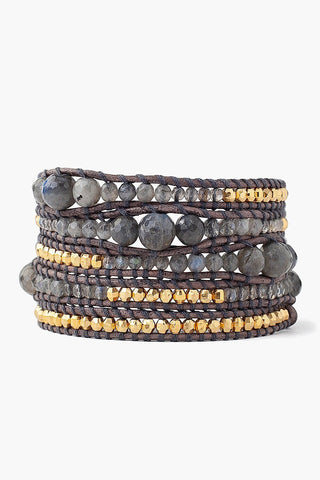 Labradorite and Gold Nugget Wrap Bracelet