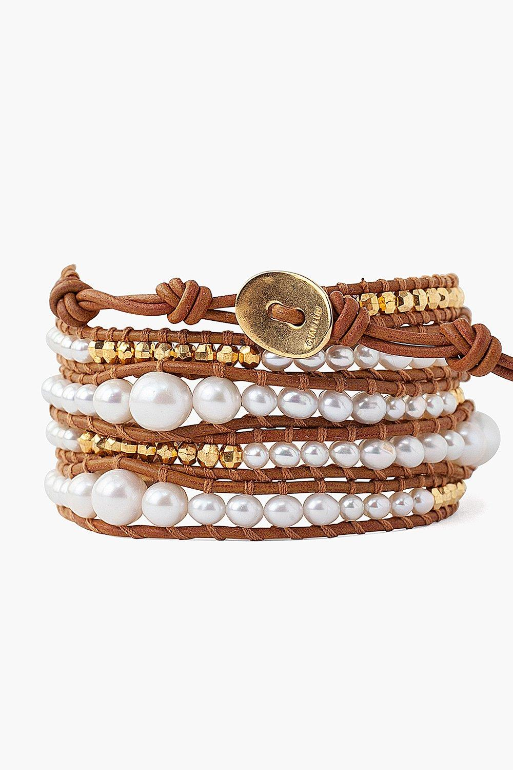 White Pearl and Gold Nugget Wrap Bracelet