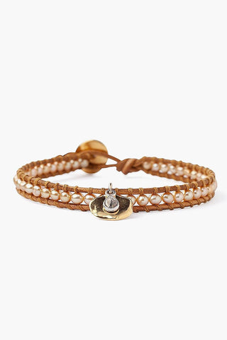 Gold Pearl and Coin Charm Single Wrap Bracelet