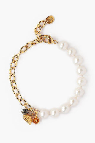 White Pearl and Abalone Flower Charm Bracelet