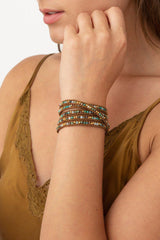 Compressed Turquoise Mix Wrap Bracelet on Natural Brown Leather