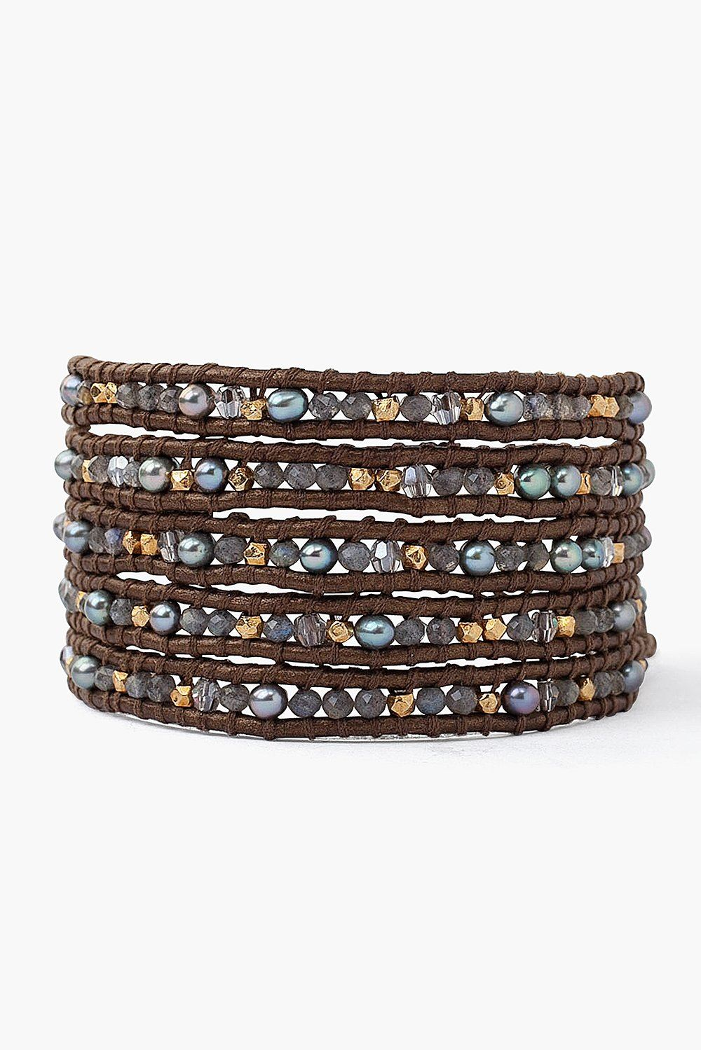 Grey Labradorite Mix Wrap Bracelet