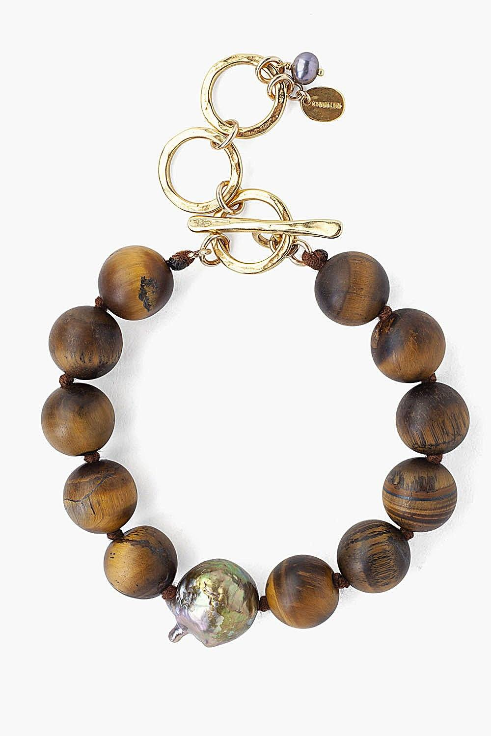 Matte Tiger's Eye and Dark Champagne Baroque Pearl Bracelet