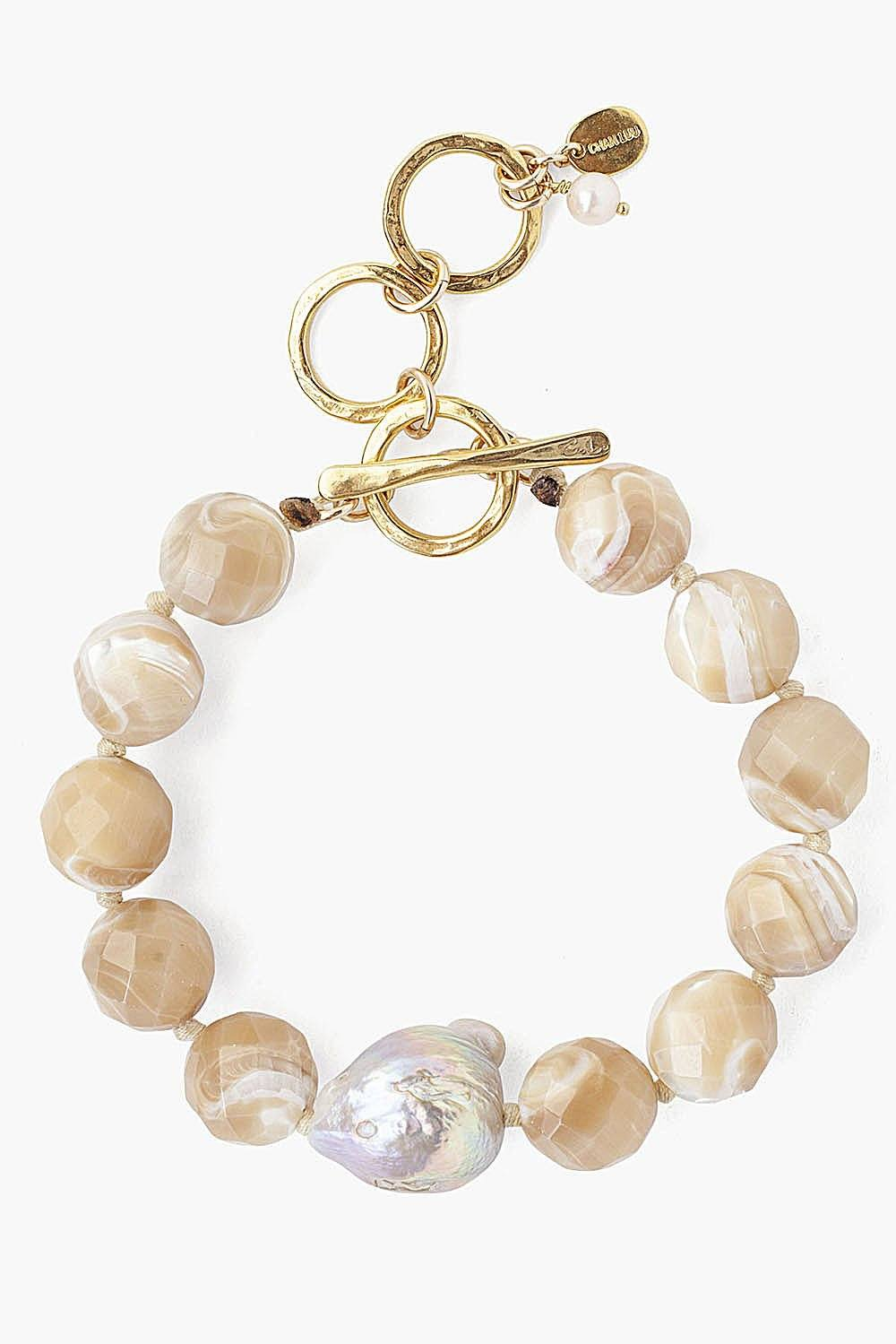 Natural Mother of Pearl and Natural Pink Baroque Pearl Bracelet