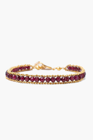 Garnet and Gold Single Chain Wrap Bracelet