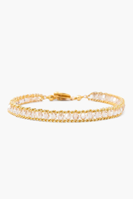 Golden Shadow Crystal and Gold Chain Single Wrap Bracelet