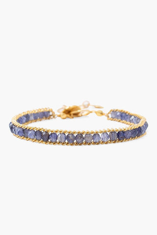 Iolite and Gold Single Chain Wrap Bracelet