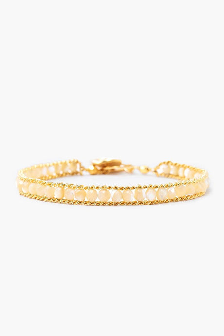 Mother of Pearl and Gold Single Chain Wrap Bracelet