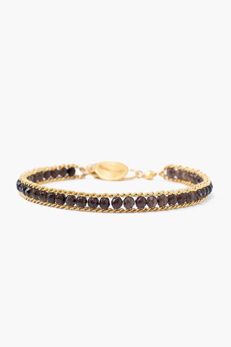 Smokey Quartz and Gold Chain Single Wrap Bracelet