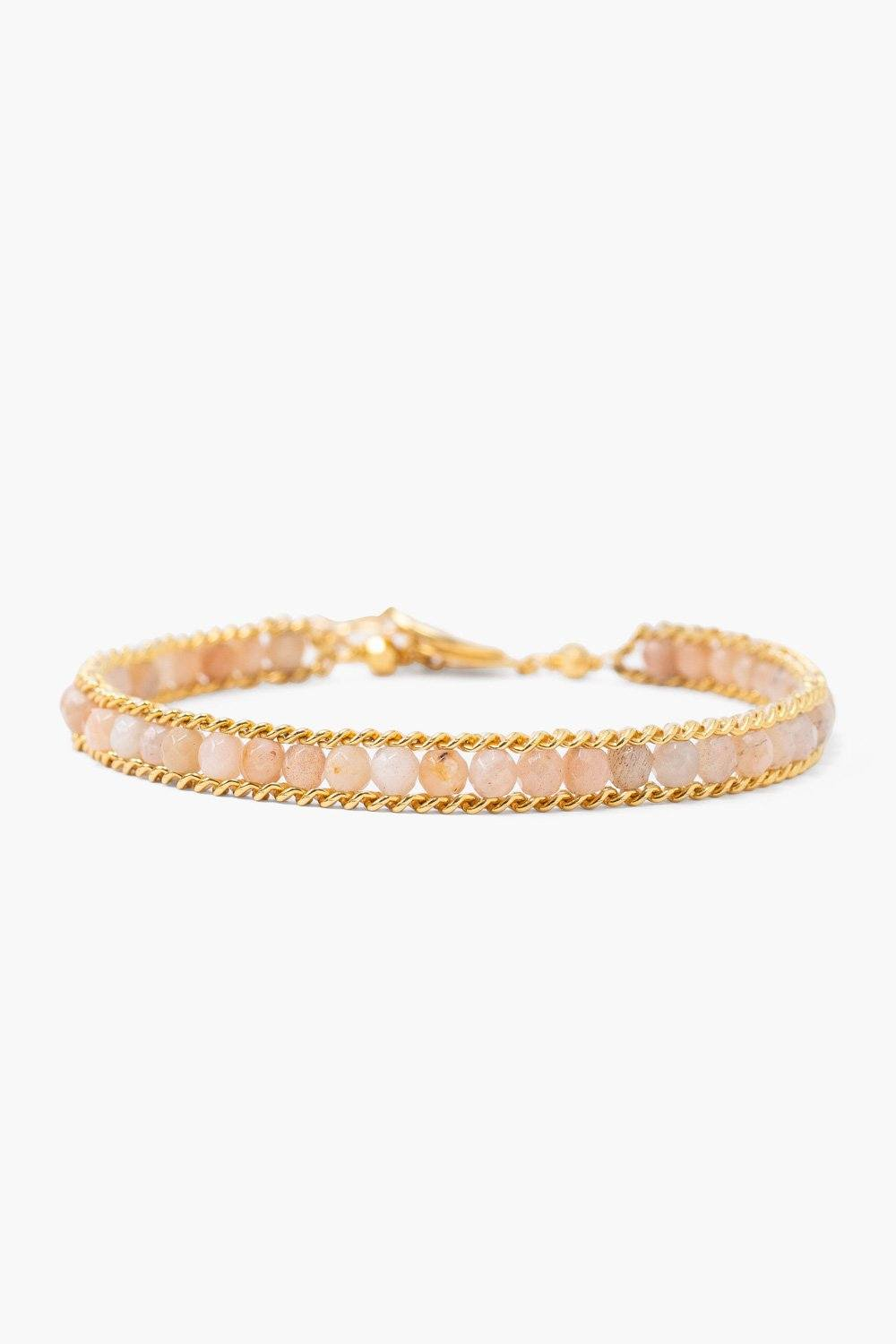 Sunstone and Gold Chain Single Wrap Bracelet