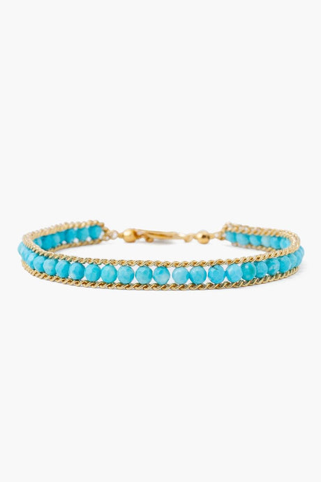 Turquoise and Gold Single Chain Wrap Bracelet