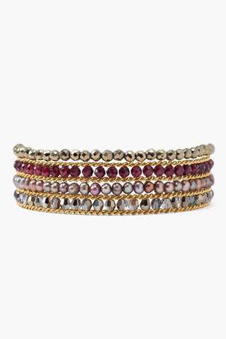 Garnet Mix Chain Wrap Bracelet