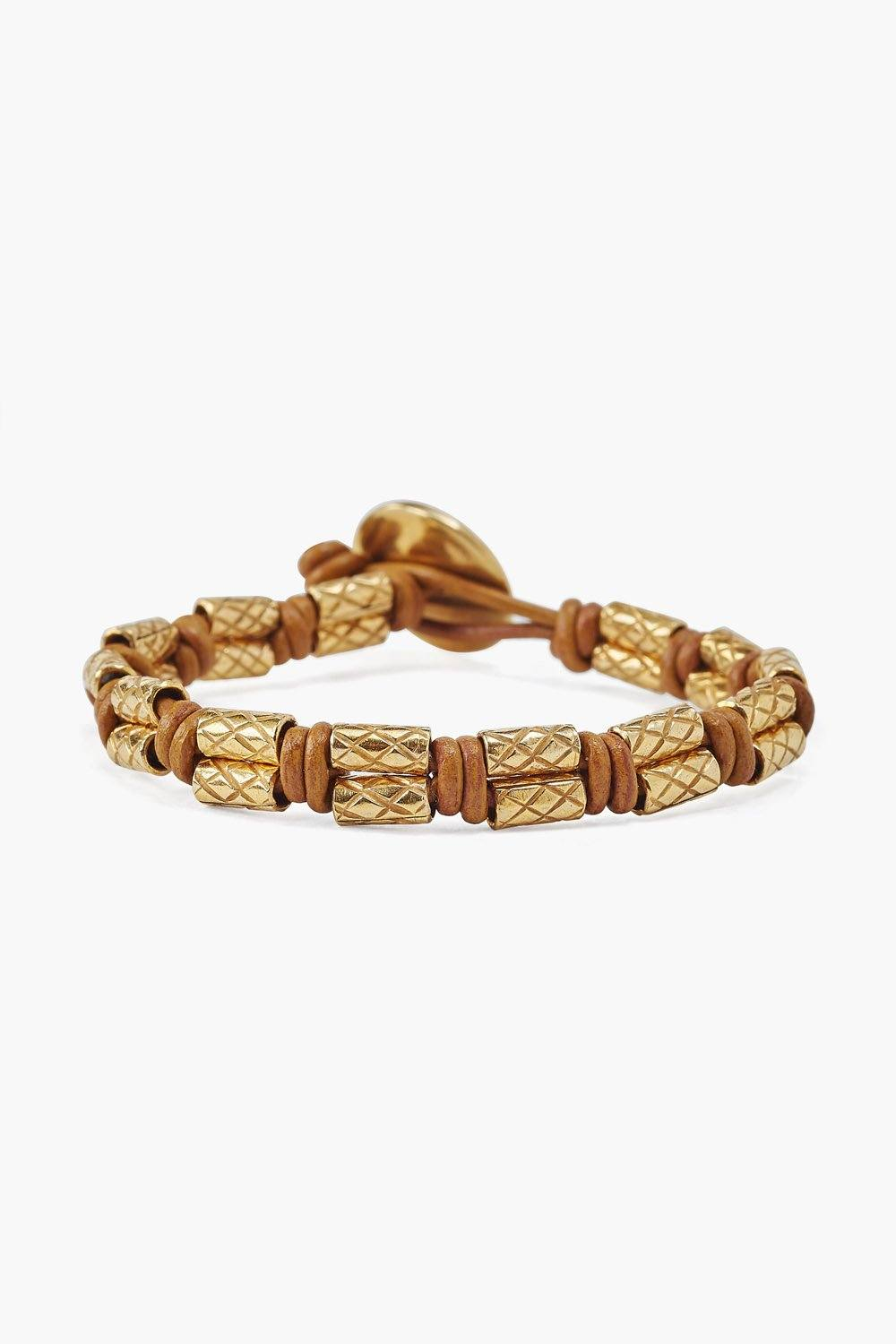 Etched Gold Heishi Single Wrap Bracelet on Natural Brown Leather